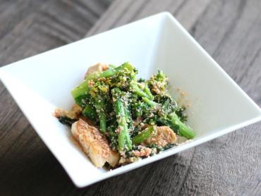 菜の花と豆腐の明太子炒め