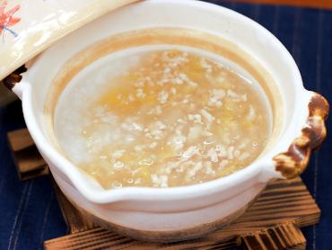 白菜と鶏そぼろのあんかけ粥