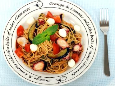たこと茄子の冷製トマトパスタ